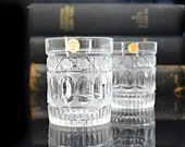 Mid century large crystal whisky glasses, Set of two whiskey bohemian cut crystal, Stuart Crystal, Vtg Barware Home Bar, Father 39 s day gift