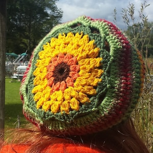 Boho Style Boho Sunflower Slouch Hippie hat Unique Gifts Holiday Gift Gifts For Her One of a Kind Gifts Birthday Gift