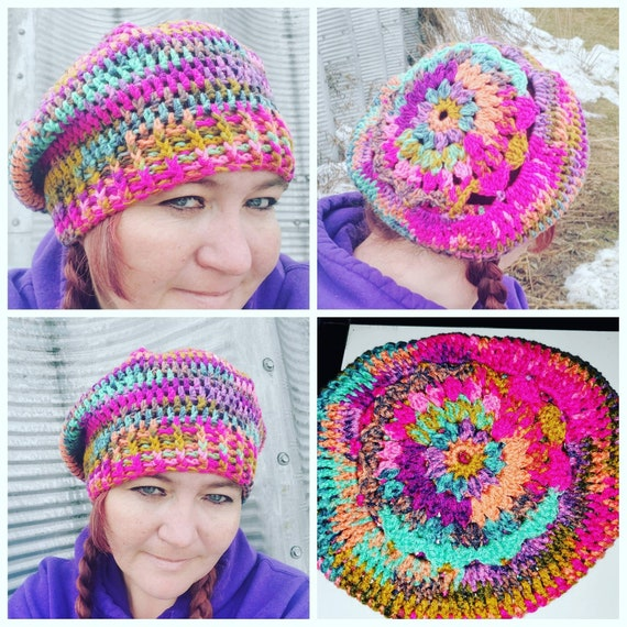 Gifts For Her Boho Style One of a Kind Gifts Unique Gifts Hippie hat Holiday Gift Boho Sunflower Slouch Birthday Gift