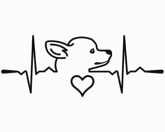 Png File Formats Pdf Cut Chihuahua Heartbeat Svg Vector Art Engraving T-shirt Design in Svg Chihuahua Lover Design for Print Eps Dxf
