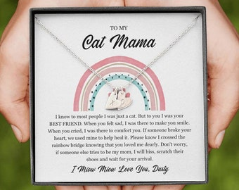 Loss Of Cat Memorial Necklace - To My Cat Mama - Until We Meet Again Heart Necklace - Cat Loss Gift