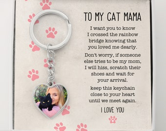 To My Cat Mama, Until We Meet Again Heart Keychain, Loss Of Cat Memorial Keychain, Cat Loss Gift