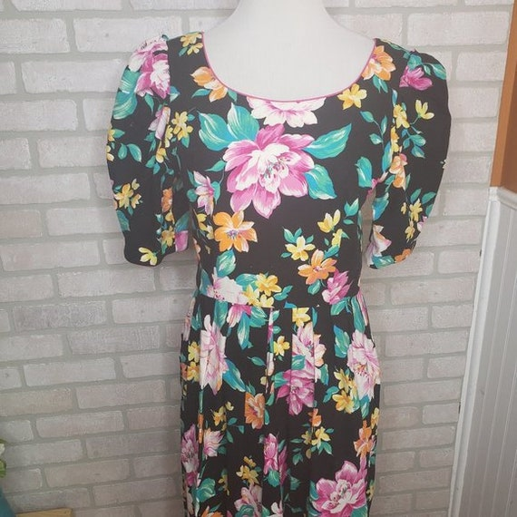Vintage Lanz Floral Puff Sleeve Pleated Dress