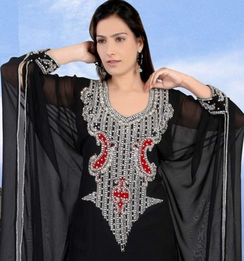 Georgette long gownmaxi kaftan Islamic morocoon kaftan for women Black floor length abaya Party wear ethnic abaya