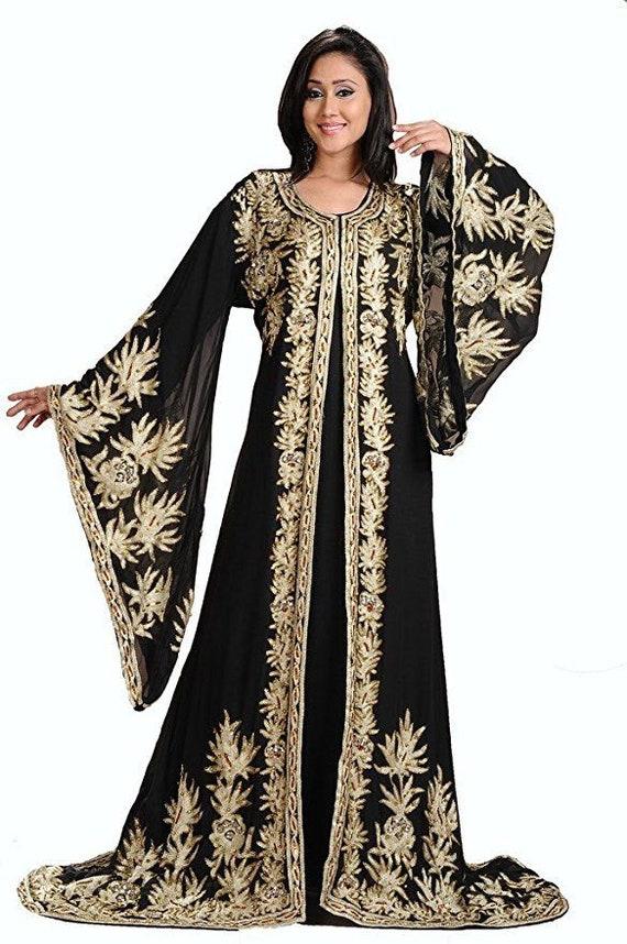Party wear ethnic abaya Hand Made long gown kaftan SALE Designer Black floor length abaya Islamic morocoon kaftan Dubai Kaftan