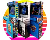 Arcade 4 Player Slim Design Cabinet in Full Vinyl Graphics Wrap - Assembled