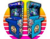 Arcade Machine 2 Player Slim Design Cabinet in Full Wrap Vinyl Graphics