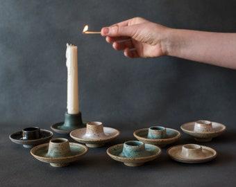 Handmade ceramic candlestick holder set of 3pottery candleholderunique modern style home decorminimalism candlestick