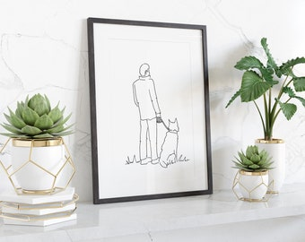Simple line drawing of a man with dog, digital download from original pen drawing, ready to print and frame at home