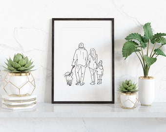 Simple line drawing of a family with dog, digital download from original pen drawing, ready to print and frame at home