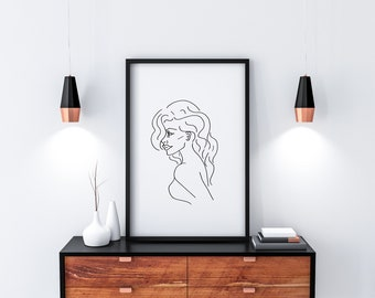Simple line drawing of a woman, digital download from original pen drawing, ready to print and frame at home
