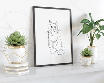 Simple line drawing of a cat, digital download from original pen drawing, ready to print and frame at home