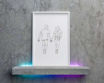Simple line drawing of a couple, digital download from original pen drawing, ready to print and frame at home