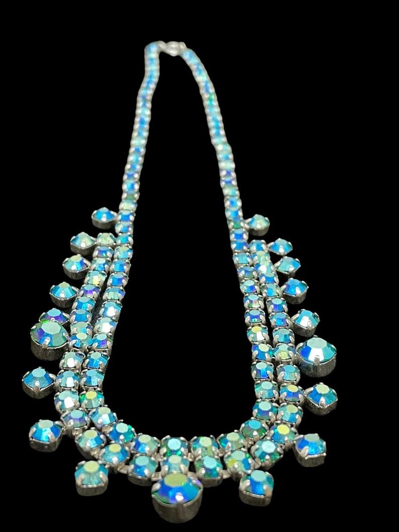 Aurora Borealis Rhinestone Necklace Vintage