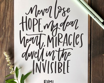 Rumi Quote | Inspirational Quotes Wall Art | Black and White Quote Prints | Hand Lettered Print