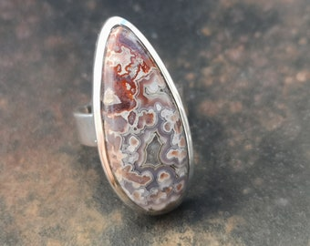 natural 20x33mm stone size P , 8 Mexican Crazy Lace Agate ring in 925 Sterling Silver