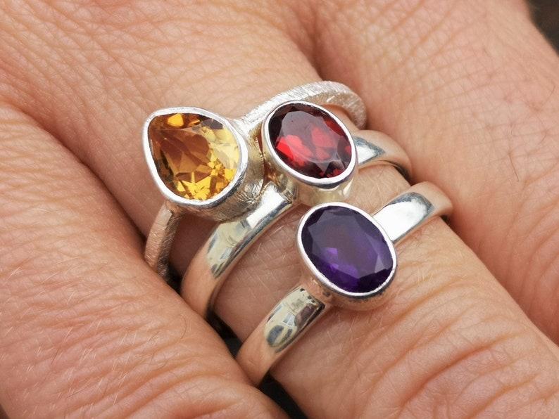 3 rings these are not stacking rings Amethyst /& Garnet in Sterling Silver Citrine size Q, 8.5