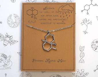 Geosmin Molecule, The Smell After Rain Necklace with Personalised Message