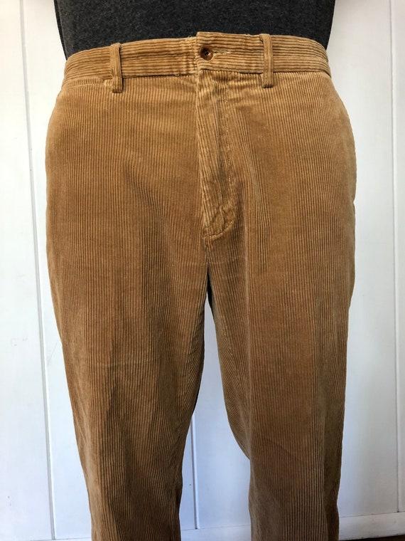 Vintage Mens Tan Corduroy Pants / Mens Trousers /