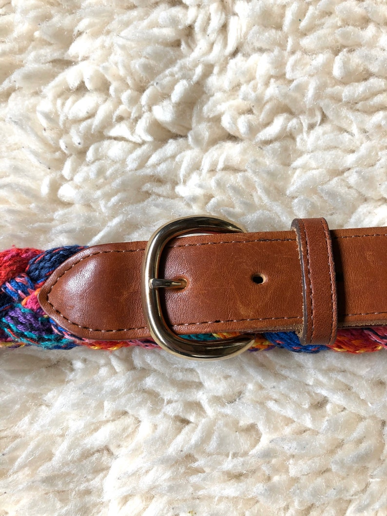 Vintage Womens Colorful Braided Belt with Leather Details  Free Shipping