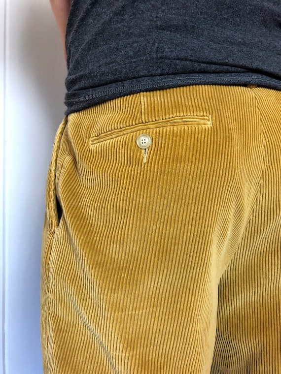 Vintage Mens Mustard Color Corduroy Pants / Mens T
