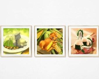 Nostalgic Anime Food Prints / Grey Panda Bear Art Print / White Dragon Art Print / Orange Cat Art Print