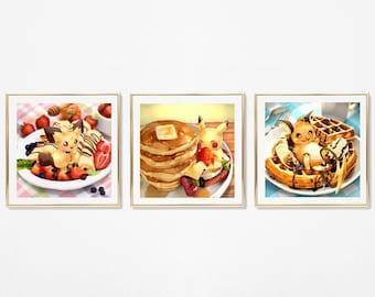 Pokemon Pichu Pikachu Raichu Posters - Breakfast / Kawaii Food Art / Cute Pokemon Prints / Breakfast Art / Pokemon Art for Kitchen