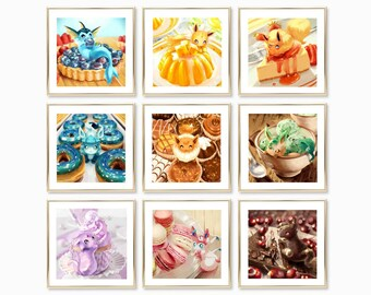Pokemon Eeveelution Art Prints - Desserts (Eevee, Vaporeon, Jolteon, Flareon, Espeon, Umbreon, Leafeon, Glaceon, Sylveon)