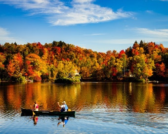Two People in a Canoe in Vermont Autumn on a Lake  - Wall Decor on Paper, Canvas or Metal - Small to Large Sizes Available