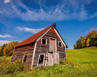Old Weathered Abandoned Vermont Barn - Wall Decor on Paper, Canvas or Metal - Small to Large Sizes Available