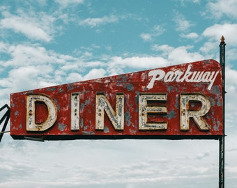1950's American Diner - Wall Decor on Paper, Canvas or Metal - Small to Large Sizes Available