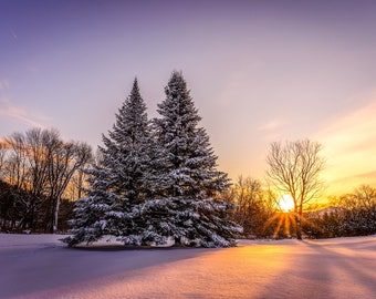 Vermont Winter Sunset - Wall Decor on Paper, Canvas or Metal - Small to Large Sizes Available