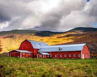 Vermont Country Red Barn - Wall Decor on Paper, Canvas or Metal - Small to Large Sizes Available