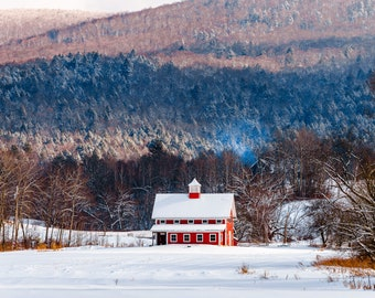 Vermont Winter Red Barn - Wall Decor on Paper, Canvas or Metal - Small to Large Sizes Available