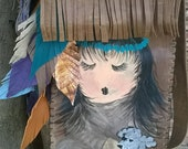 Hand painted fringed leather handbag with tons of leather feathers with handpainting