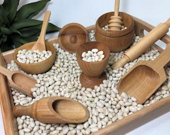 Sensory Bin Wooden Toy Kit, Montessori Toys Sensory Table, Loose Parts Play, Sensory Play Tool Kit, Wood Dishes Toddler Birthday Gift