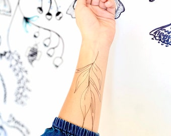 Temporary tattoo, temporary tattoo women, floral temporary tattoo, large temporary tattoo, floral tattoo, adventure tattoo, hipster tattoo