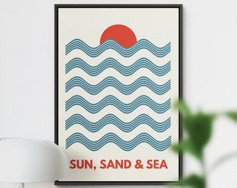 Beach Poster, Bathroom Poster, Bathroom Decor, Coastal Poster, Retro Print, Surf Poster, Beach Print, Bathroom Art, Beach Wall Art