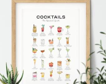 Cocktails Poster, Classic Cocktails Print, Cocktail Recipes, Cocktails Art, Cocktail Gifts, Cocktail Guide, Cocktail Menu, Kitchen Poster