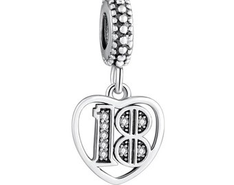 Number 8 Age Date Eighth Birthday Anniversary Dangle Charm for European Bracelet