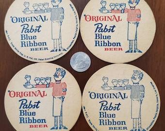 FIVE Vintage PABST BLUE RIBBON Cardboard COASTERS...NOS /& NICE!