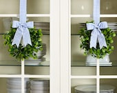 Set of 2 Spring Easter Cabinet faux greenery Wreaths 8 1 2 quot W x 20 quot L Blue Check Buffalo Plaid Ribbon