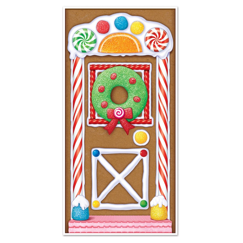 Gingerbread Christmas House Door Cover