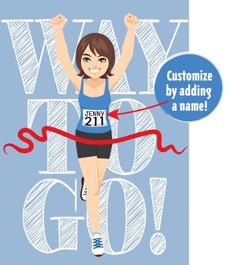 Downloadable Congratulations Runner Card brown, shoulder length hair Way to Go