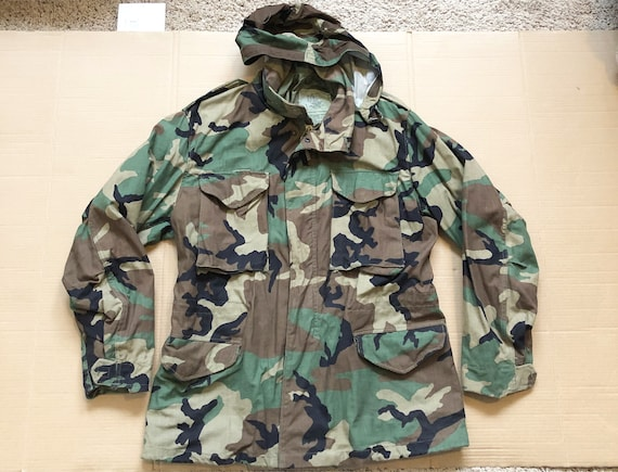 Vintage Camouflage Military Field Jacket with Hood