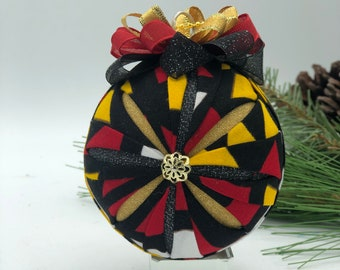 African Ankara Fabric Holiday Ornaments Red, Green and Gold \u2026great for Christmas or Kwanzaa Decorations