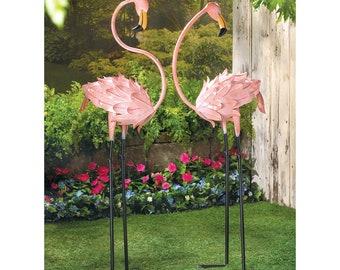 Garden Decor, Rustic Pink Metal Flamingo Yard Art Decorations (1 Pair)