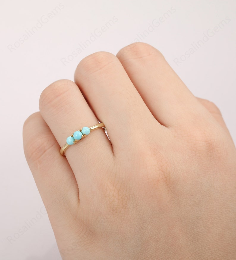 Dainty Women/'s Ring Unique Engagement Ring Minimalist Jewelry Daily Ring Round Cut 3.3mm Turquoise Wedding Ring Handmade Bridal Ring