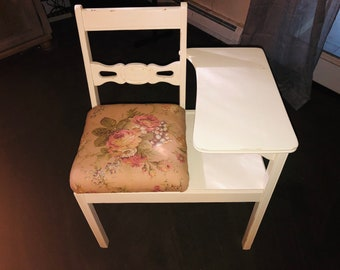 Items similar to Vintage gossip bench, yellow entryway bench ...