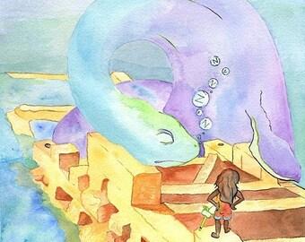 """5 x 7 Print - """"Sea-dragon"""" Children's Book Style"""